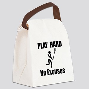 Lacrosse Play Hard Black Canvas Lunch Bag