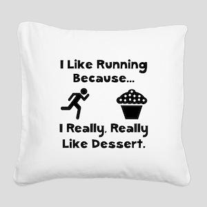 Running Dessert Black Square Canvas Pillow