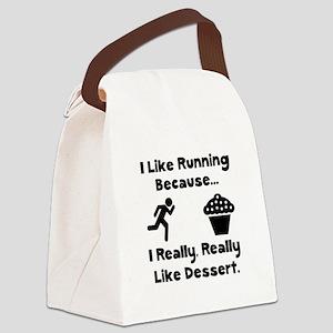 Running Dessert Black Canvas Lunch Bag