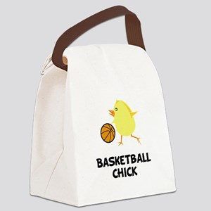 Basketball Chick Black Canvas Lunch Bag
