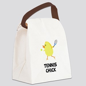Tennis Chick Black Canvas Lunch Bag
