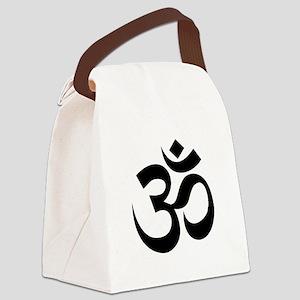 Yoga Om Black Canvas Lunch Bag