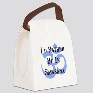 Rather Be Savasana Black Canvas Lunch Bag