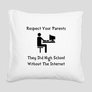Respect Parents Internet Black Square Canvas P