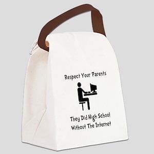 Respect Parents Internet Black Canvas Lunch Ba