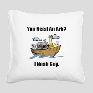 Noah Ark Black Square Canvas Pillow