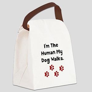 Human Dog Walks Black Canvas Lunch Bag