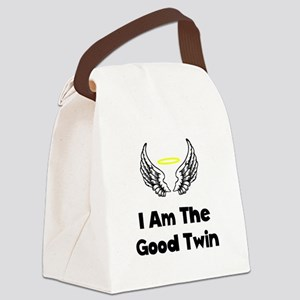 I Am The Good Twin Black Canvas Lunch Bag