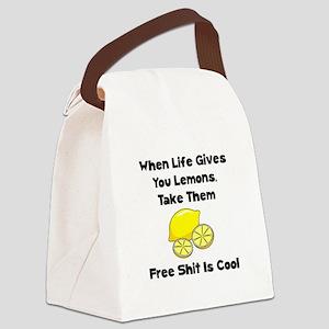 Free Lemons Black Canvas Lunch Bag