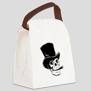Top Hat Skull Black Canvas Lunch Bag