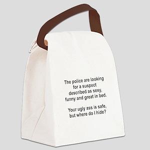 Police Suspect Black Canvas Lunch Bag