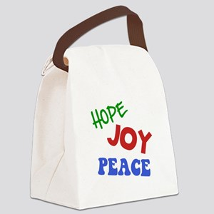 Hope Joy Peace Green ONLY Canvas Lunch Bag