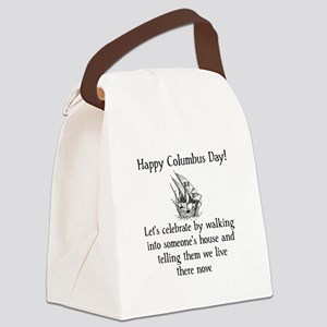 Happy Columbus Day Black Canvas Lunch Bag