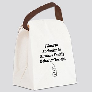 Apologize In Advance Black Canvas Lunch Bag