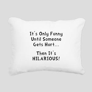 Funny Hurts Black Rectangular Canvas Pillow