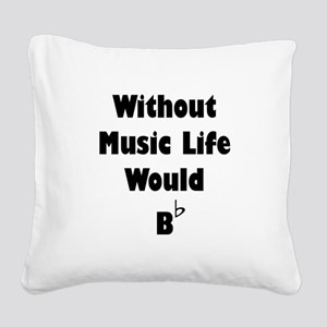 Music B Flat Black Square Canvas Pillow