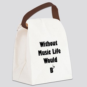 Music B Flat Black Canvas Lunch Bag