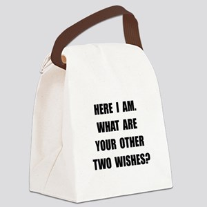 Here I Am Black Canvas Lunch Bag