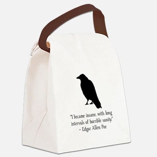 Edgar Allen Poe Quote Black.png Canvas Lunch Bag
