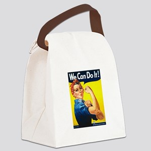 Rosie The Riveter Yellow Canvas Lunch Bag