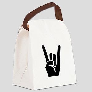 Rock Fingers Black Canvas Lunch Bag