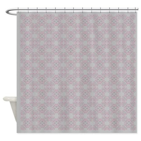 Soft Grey And Pink Pattern Shower Curtain By Glamourgirls2