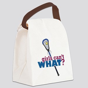 Lacrosse Stick Blue Canvas Lunch Bag