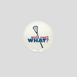 Lacrosse Stick Blue Mini Button