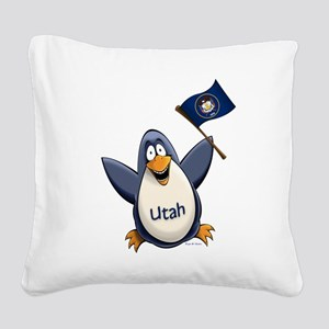 Utah Penguin Square Canvas Pillow