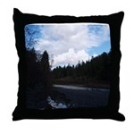 Eel River with Clouds Throw Pillow