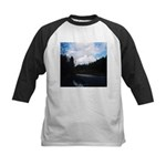 Eel River with Clouds Kids Baseball Jersey