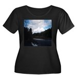 Eel River with Clouds Women's Plus Size Scoop Neck