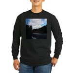 Eel River with Clouds Long Sleeve Dark T-Shirt