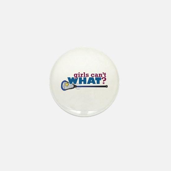Lacrosse Stick in Blue Mini Button