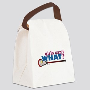 Lacrosse Stick in Red Canvas Lunch Bag