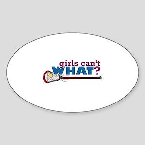Lacrosse Stick in Red Sticker (Oval)