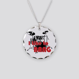 Drum Set Humor Necklace Circle Charm