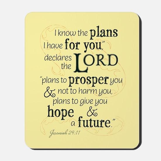 Jeremiah 29:11 hope and a future Mousepad