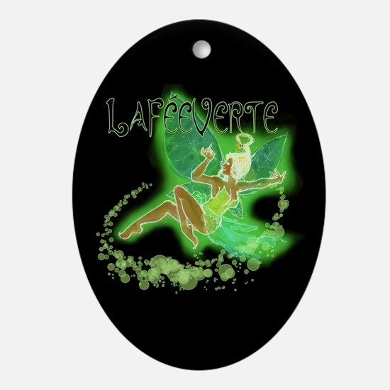 Dark Green Fairy Flying Ornament (Oval)