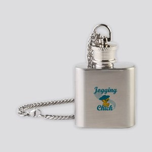 Jogging Chick #3 Flask Necklace