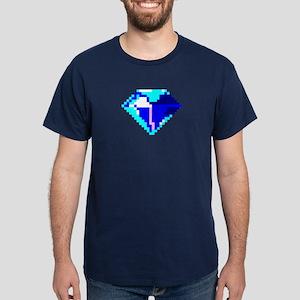 Blue Gem Pixel Art 8-Bit Diamond Jewel Dark T-Shir