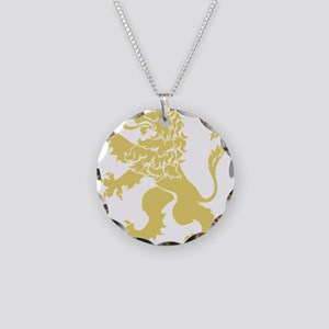 Gold Rampant Lion Necklace Circle Charm