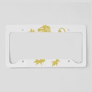 Gold Rampant Lion License Plate Holder