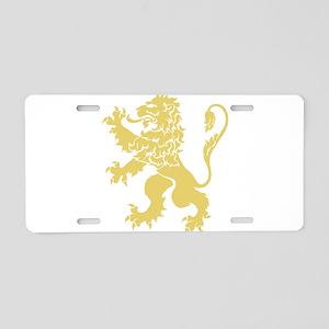 Gold Rampant Lion Aluminum License Plate