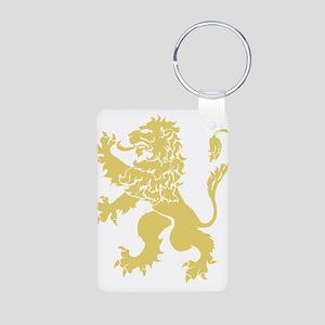 Gold Rampant Lion Aluminum Photo Keychain