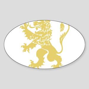 Gold Rampant Lion Sticker (Oval)