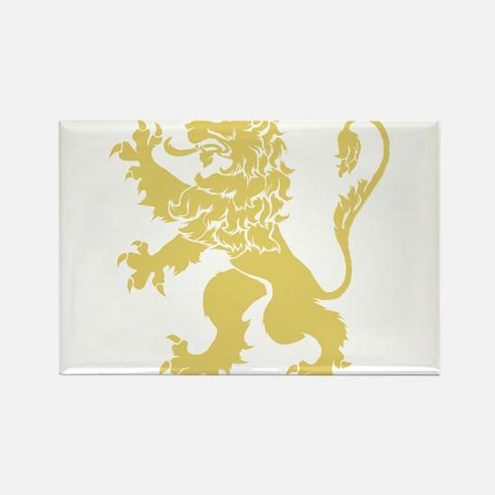 Gold Rampant Lion Rectangle Magnet