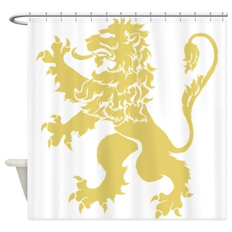 Gold Rampant Lion Shower Curtain