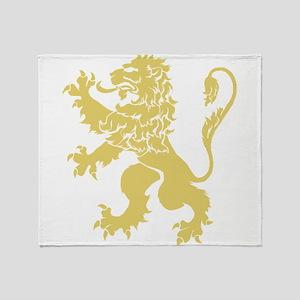 Gold Rampant Lion Throw Blanket