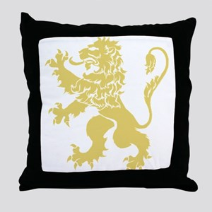 Gold Rampant Lion Throw Pillow